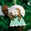 Funny decorative angel on xmas tree — Stock Photo #16858909