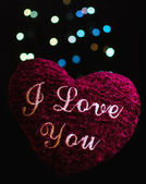 Soft heart with text on bokeh lights background — Photo