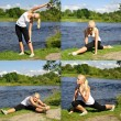 Young woman doing exercise outdoors. Collage of four photos — Stock Photo