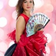 Portrait of attractive flamenco dancer. Bokeh background — Stock Photo