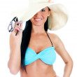 Pretty young woman in bikini and straw hat. Isolated on white — Stock Photo #18023897