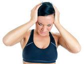 年轻女子患头痛。在白色隔离 — 图库照片