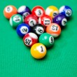 Pool game balls on green felt table — Stock Photo