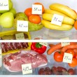 Open fridge full of fruits, vegetables and meat with marked calories — Stock Photo #19949431