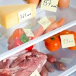 Stock Photo: Open fridge full of fruits, vegetables and meat with marked calories