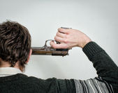 Man commit suicide. Back view — Stock Photo