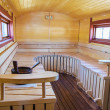 Mobile finnish sauna interior — Stock Photo