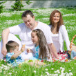 Happy family have picnic in the park — Stock Photo