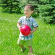 Stock Photo: Little boy playing with ball in the park