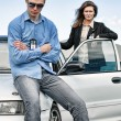 Two FBI agents near the car with flasher — Stock Photo