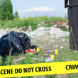 Stock Photo: Crime scene with corpse and evidence