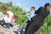 Two FBI agents arresting an offender with knife — Stock Photo