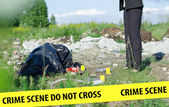 Crime scene with corpse and evidence — Stock Photo