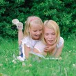 Mother and daughter reading book in the park — Stock Photo