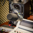 Foto Stock: Part of a mixing panel in a radio studio