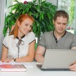 Male and female students studying using laptop — Foto Stock