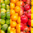 Collage. Lots of different fruits — Stock Photo