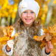 Little smiling girl with fallen autumn leaves — Stock Photo