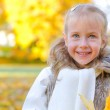 Little smiling girl with fallen autumn leaves. Space for text. — Stock Photo #33374393