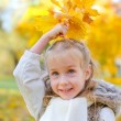 Little girl playing with fallen autumn leaves. — Stock Photo #33374409