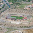 Aerial view of football stadium. Tilt-shift photo. — Stock Photo