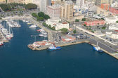 Aerial View of port with yachts — Stock Photo