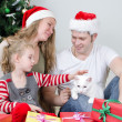Happy family portrait in front of christmas tree. — Stock Photo