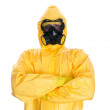 Man in protective hazmat suit. Isolated on white. — Stock Photo