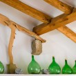 Old green bottles for wine making. — Stock Photo