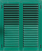 Window with green shutters, Closeup view — Stock Photo