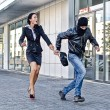 Stock Photo: Bandit stealing businesswombag in street