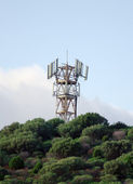 Cellular tower on the top of mountain. — Stock Photo