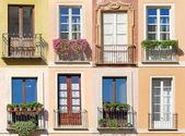 Collage of eight windows photos. — Stock Photo