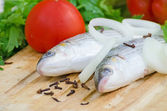 Mugil cephalus fish with vegetables. — Foto de Stock