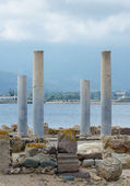 Ancient columns. Archaeological excavations of the ancient city. — Stock Photo