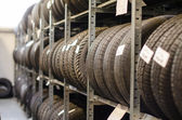 Used old car tires at warehouse. — Foto Stock