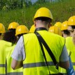 Group of workers in hardhats. View from the back. — Stock Photo #46881735