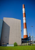 Perspective view of chimney of thermal power plant. — Stock Photo