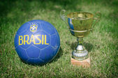 Victory celebration. Soccer trophy near the ball. — Stok fotoğraf