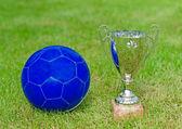 Victory celebration. Soccer trophy near the ball. — Foto de Stock