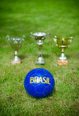 Victory celebration. Soccer trophies near the ball. — Foto de Stock