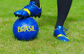 Brazilian Football Confederation. Football player is ready to play. — Stock Photo