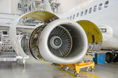 Detailed view of plane engine. Aircraft maintenance. — Foto Stock