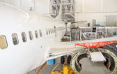 Plane wing without engine. Aircraft maintenance. — Foto Stock