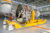 Dismantled plane engine. Aircraft maintenance. — Stock Photo