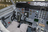 Aircraft dashboard. View inside the pilot's cabin. — Foto Stock