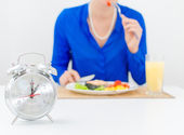 Schedule of the day. Day. Woman having dinner. — Stock Photo