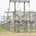 Torres de transmisión de alto voltaje ac — Foto de Stock