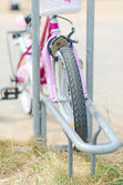 Bicycle parking on the children playground. — Stockfoto