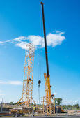 Installation of tower crane on construction site. — Stock Photo